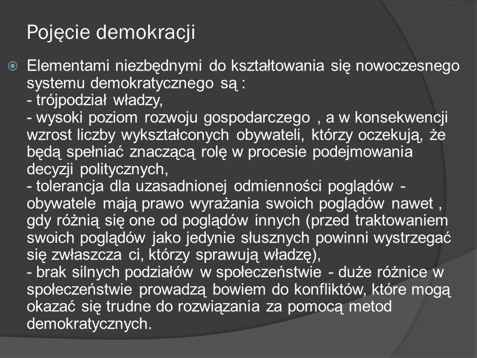 Pojęcie demokracji  Elementami niezbędnymi do kształtowania się nowoczesnego systemu demokratycznego są : - trójpodział władzy, - wysoki poziom rozwo