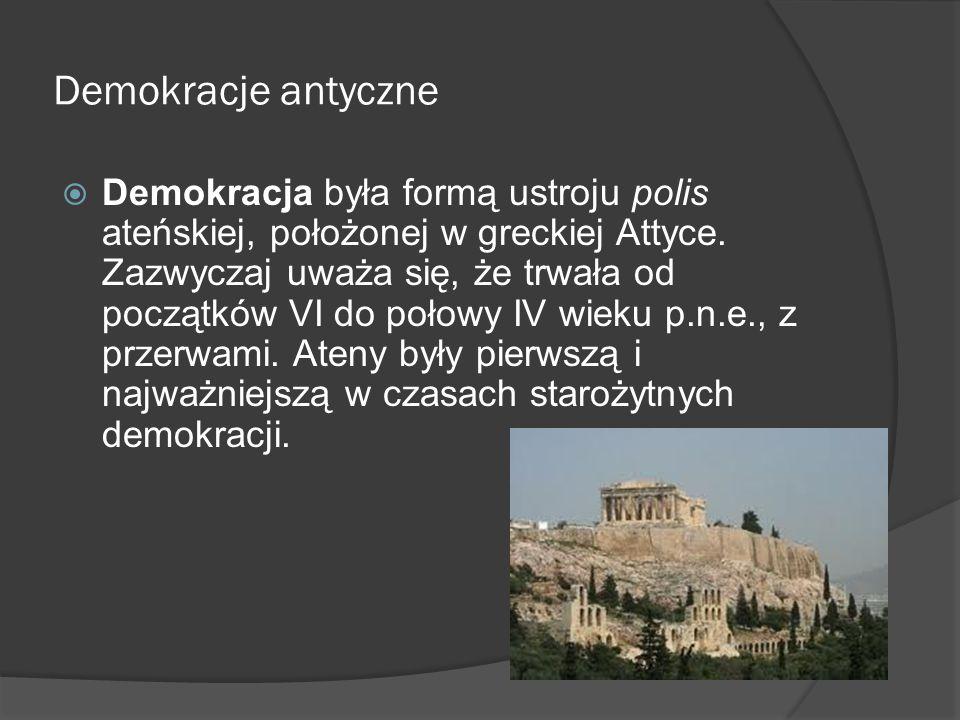 Demokracje antyczne  Podstawą demokracji ateńskiej były rządy większości.