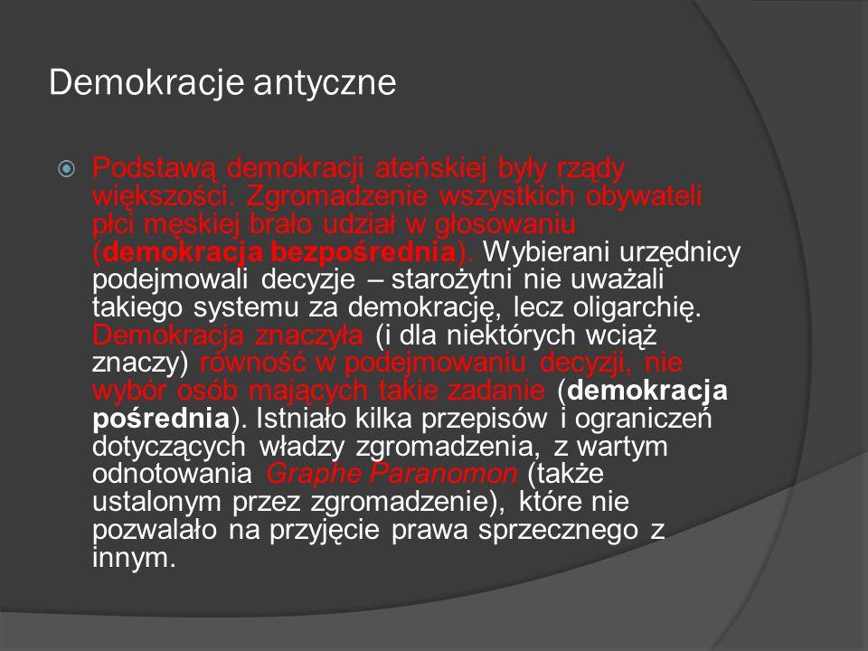 Demokracje antyczne  Głosowanie odbywało się w miejscach publicznych przez podniesienie rąk, czasem przez fizyczny podział ( Wszyscy którzy są za, idą na lewo ), a czasem na piśmie lub przez wrzucenie kamienia.