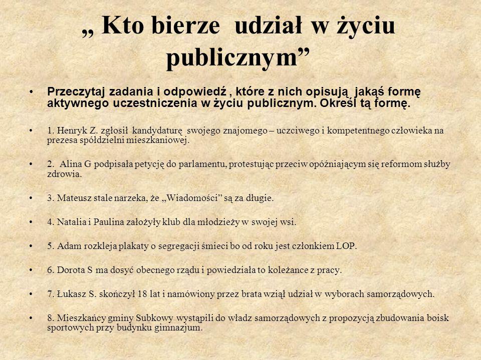 """"""" Kto bierze udział w życiu publicznym Przeczytaj zadania i odpowiedź, które z nich opisują jakąś formę aktywnego uczestniczenia w życiu publicznym."""