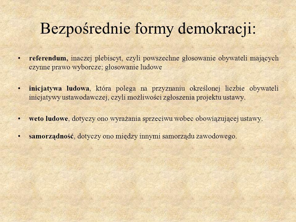 Bezpośrednie formy demokracji: referendum, inaczej plebiscyt, czyli powszechne głosowanie obywateli mających czynne prawo wyborcze; głosowanie ludowe inicjatywa ludowa, która polega na przyznaniu określonej liczbie obywateli inicjatywy ustawodawczej, czyli możliwości zgłoszenia projektu ustawy.