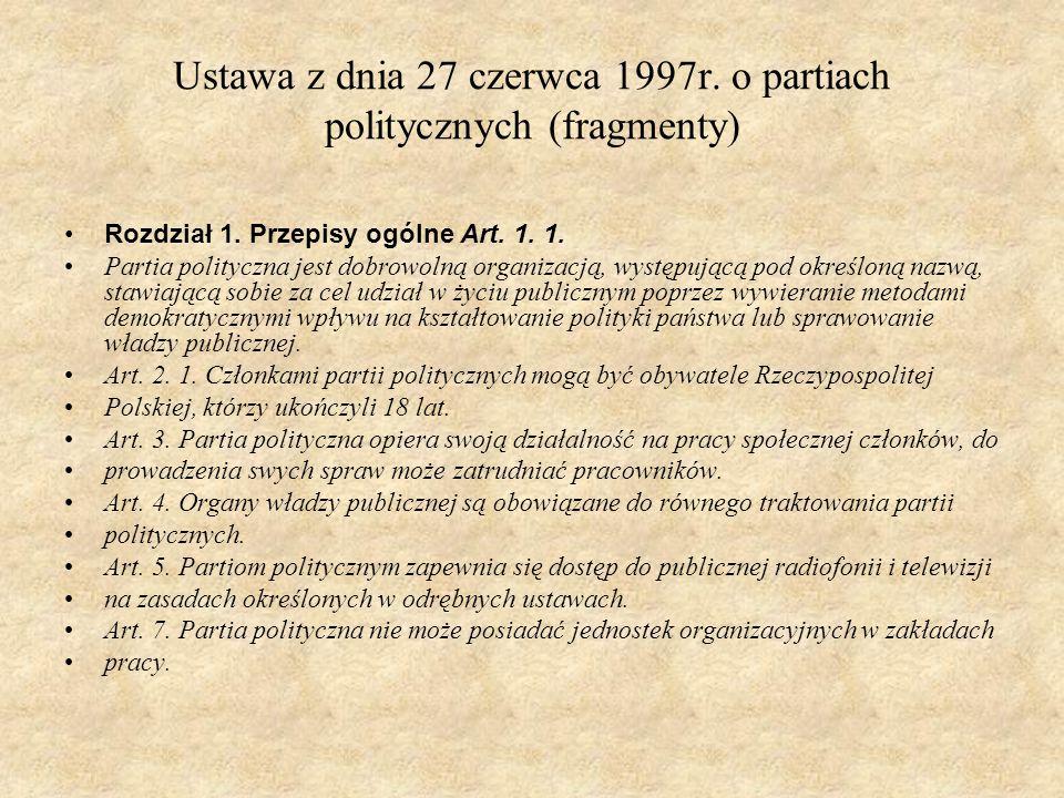 Ustawa z dnia 27 czerwca 1997r. o partiach politycznych (fragmenty) Rozdział 1. Przepisy ogólne Art. 1. 1. Partia polityczna jest dobrowolną organizac