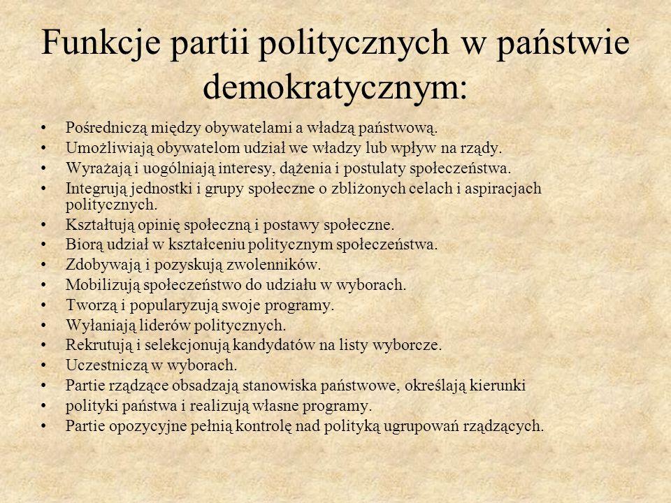 Funkcje partii politycznych w państwie demokratycznym: Pośredniczą między obywatelami a władzą państwową. Umożliwiają obywatelom udział we władzy lub