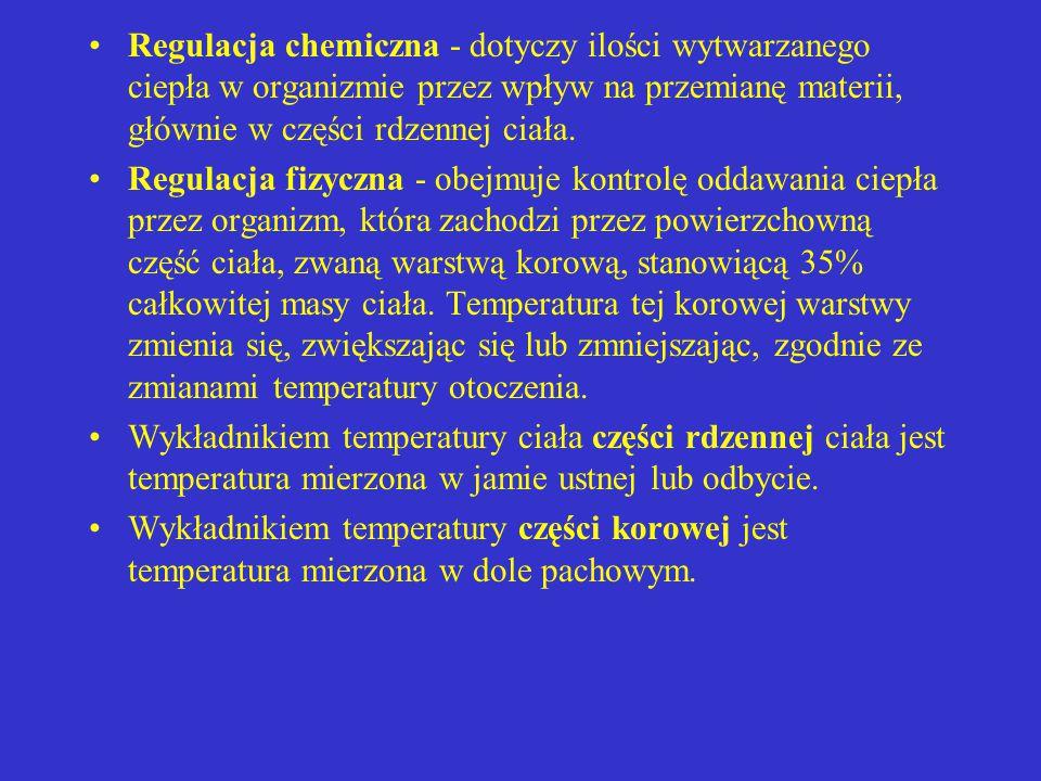 Powyżej krytycznego poziomu temperatury ośrodek termoregulacji powoduje zwiększenie utraty ciepła poprzez: pobudzenie wydzielania potu zahamowanie ośrodków współczulnych i rozszerzenie naczyń krwionośnych skóry zahamowanie wytwarzania ciepła Krytyczny poziom temperatury ciała może zostać zmieniony przez sygnały docierające do ośrodka termoregulacji z obwodowych receptorów np.
