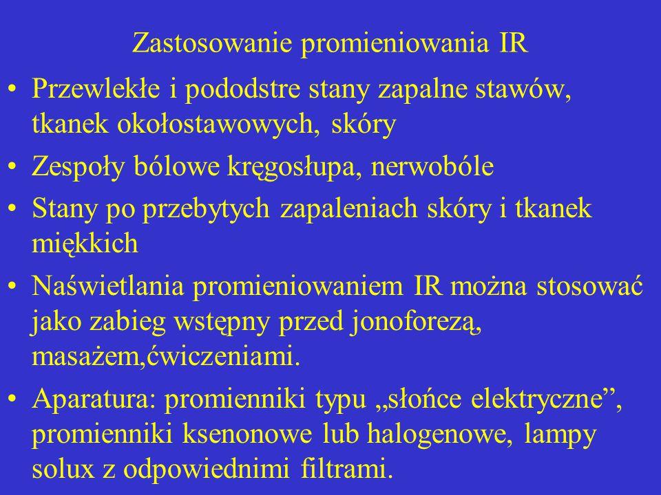 Zastosowanie promieniowania IR Przewlekłe i pododstre stany zapalne stawów, tkanek okołostawowych, skóry Zespoły bólowe kręgosłupa, nerwobóle Stany po