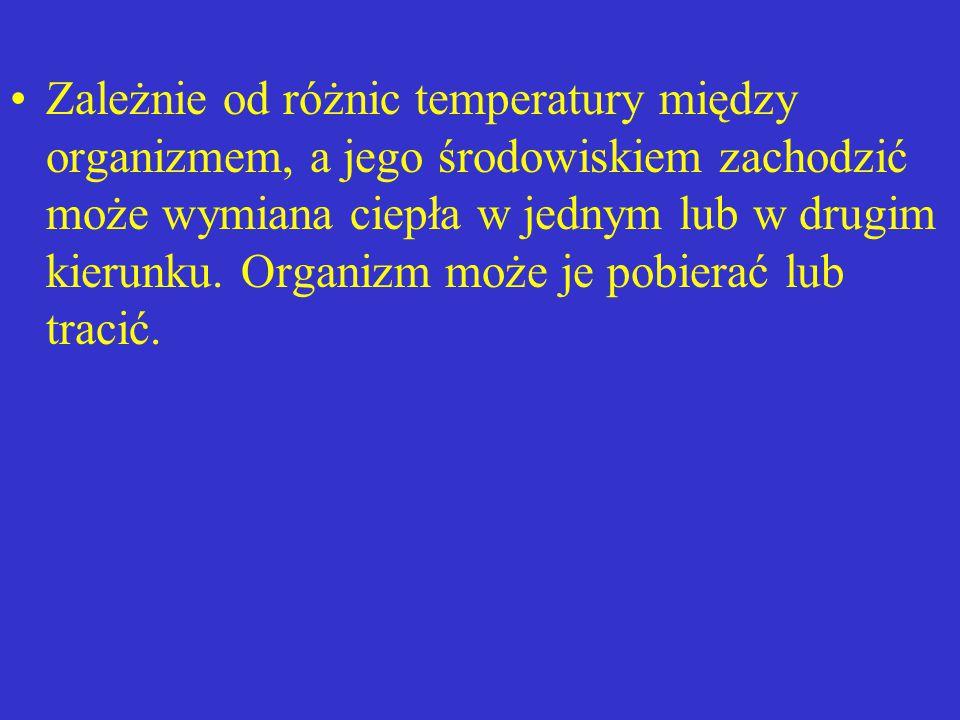 Zależnie od różnic temperatury między organizmem, a jego środowiskiem zachodzić może wymiana ciepła w jednym lub w drugim kierunku. Organizm może je p