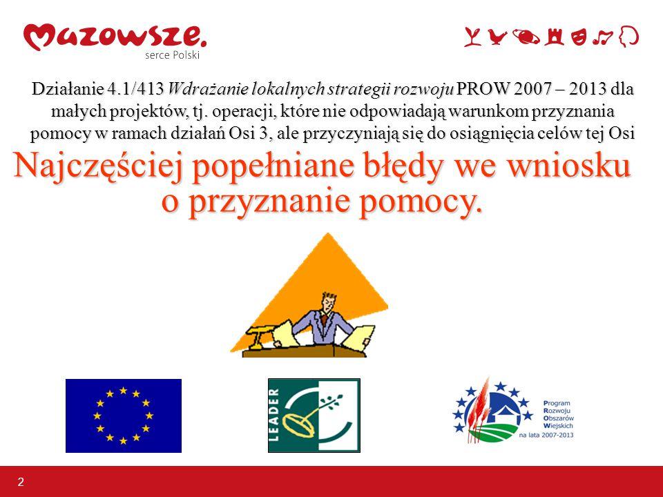 Działanie 4.1/413 Wdrażanie lokalnych strategii rozwoju PROW 2007 – 2013 dla małych projektów, tj. operacji, które nie odpowiadają warunkom przyznania