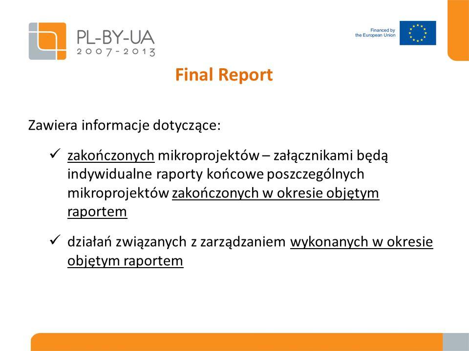 Final Report Zawiera informacje dotyczące: zakończonych mikroprojektów – załącznikami będą indywidualne raporty końcowe poszczególnych mikroprojektów zakończonych w okresie objętym raportem działań związanych z zarządzaniem wykonanych w okresie objętym raportem