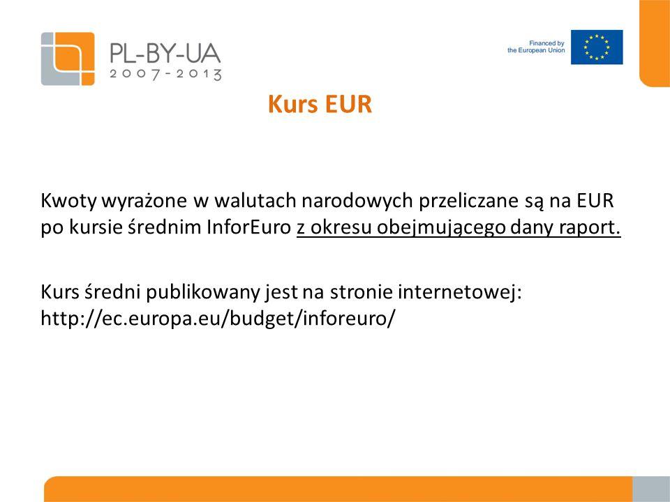 Kurs EUR Kwoty wyrażone w walutach narodowych przeliczane są na EUR po kursie średnim InforEuro z okresu obejmującego dany raport.