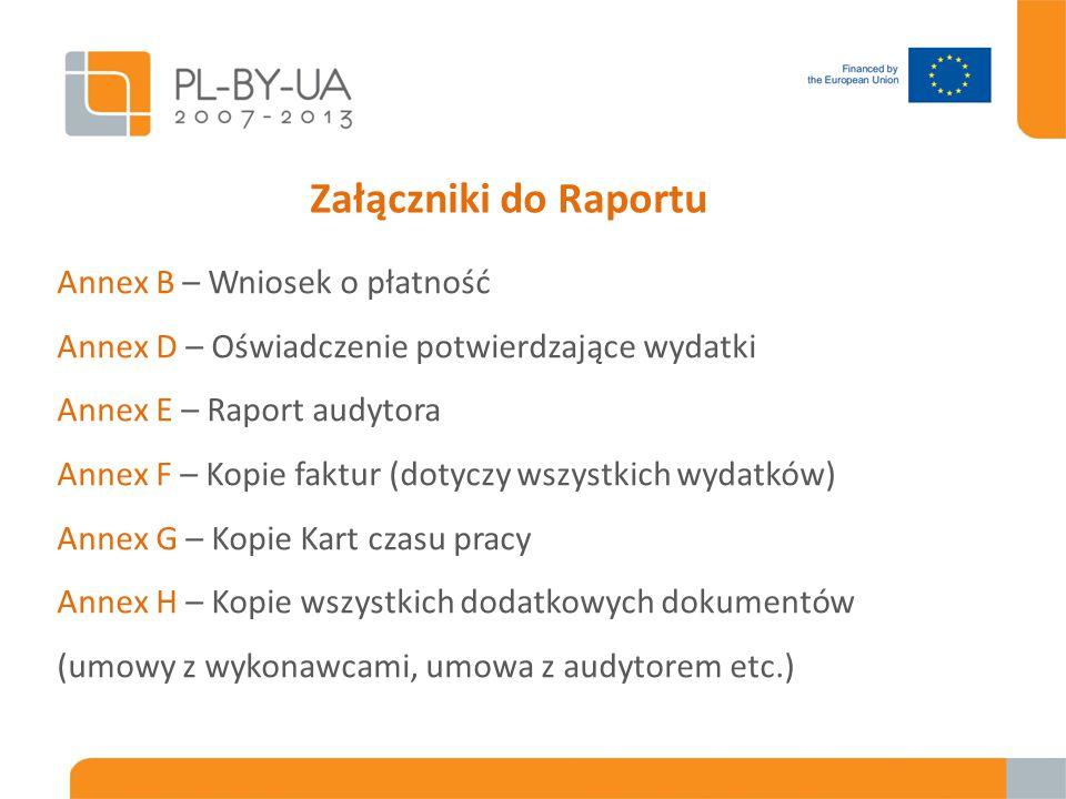 Załączniki do Raportu Annex B – Wniosek o płatność Annex D – Oświadczenie potwierdzające wydatki Annex E – Raport audytora Annex F – Kopie faktur (dot