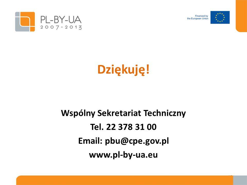 Dziękuję! Wspólny Sekretariat Techniczny Tel. 22 378 31 00 Email: pbu@cpe.gov.pl www.pl-by-ua.eu 18