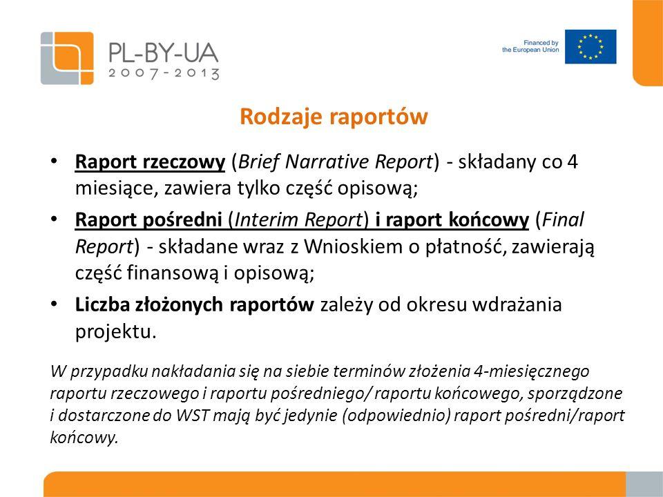 Rodzaje raportów Raport rzeczowy (Brief Narrative Report) - składany co 4 miesiące, zawiera tylko część opisową; Raport pośredni (Interim Report) i raport końcowy (Final Report) - składane wraz z Wnioskiem o płatność, zawierają część finansową i opisową; Liczba złożonych raportów zależy od okresu wdrażania projektu.