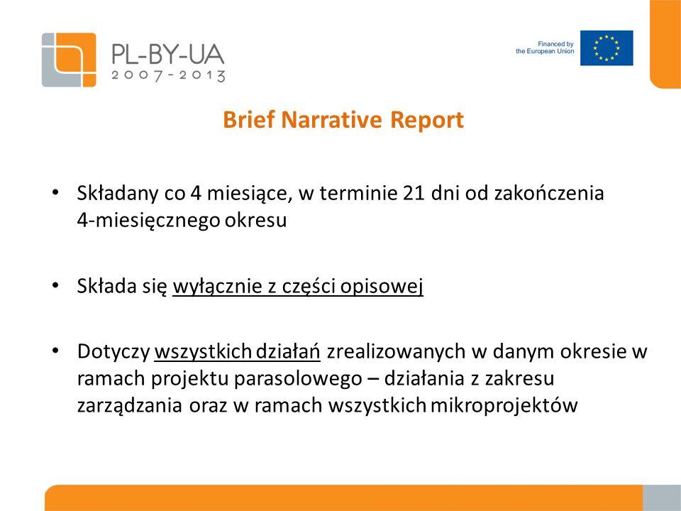 Brief Narrative Report Składany co 4 miesiące, w terminie 21 dni od zakończenia 4-miesięcznego okresu Składa się wyłącznie z części opisowej Dotyczy wszystkich działań zrealizowanych w danym okresie w ramach projektu parasolowego – działania z zakresu zarządzania oraz w ramach wszystkich mikroprojektów