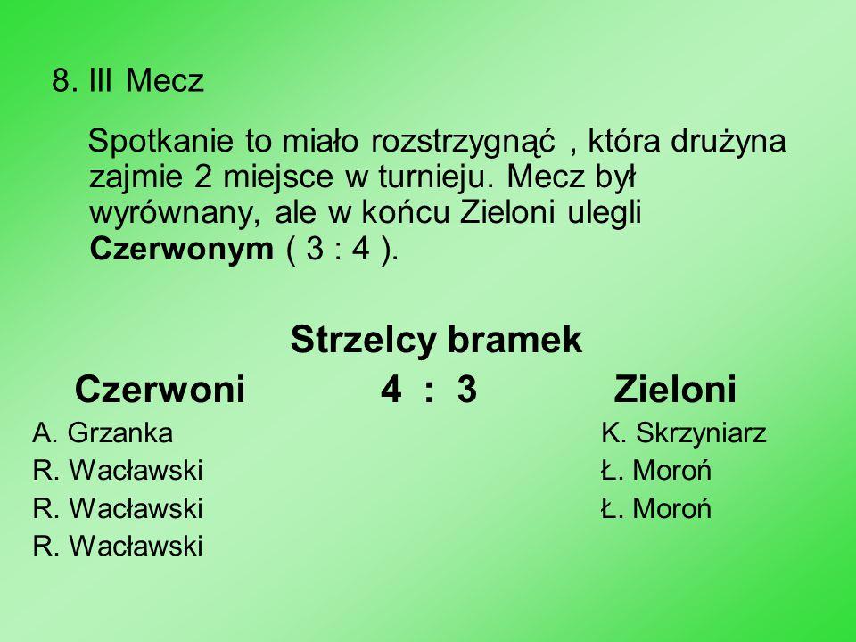 8. III Mecz Spotkanie to miało rozstrzygnąć, która drużyna zajmie 2 miejsce w turnieju. Mecz był wyrównany, ale w końcu Zieloni ulegli Czerwonym ( 3 :