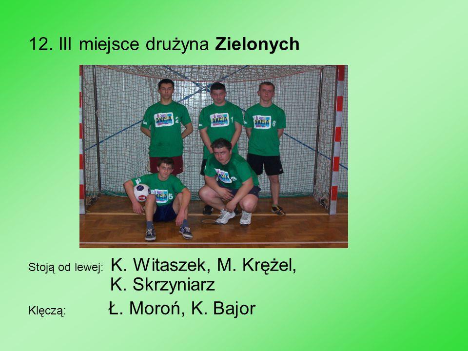 12. III miejsce drużyna Zielonych Stoją od lewej: K. Witaszek, M. Krężel, K. Skrzyniarz Klęczą: Ł. Moroń, K. Bajor