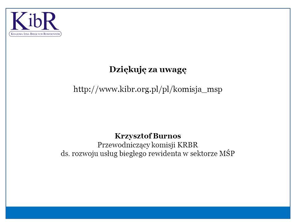 Dziękuję za uwagę http://www.kibr.org.pl/pl/komisja_msp Krzysztof Burnos Przewodniczący komisji KRBR ds.