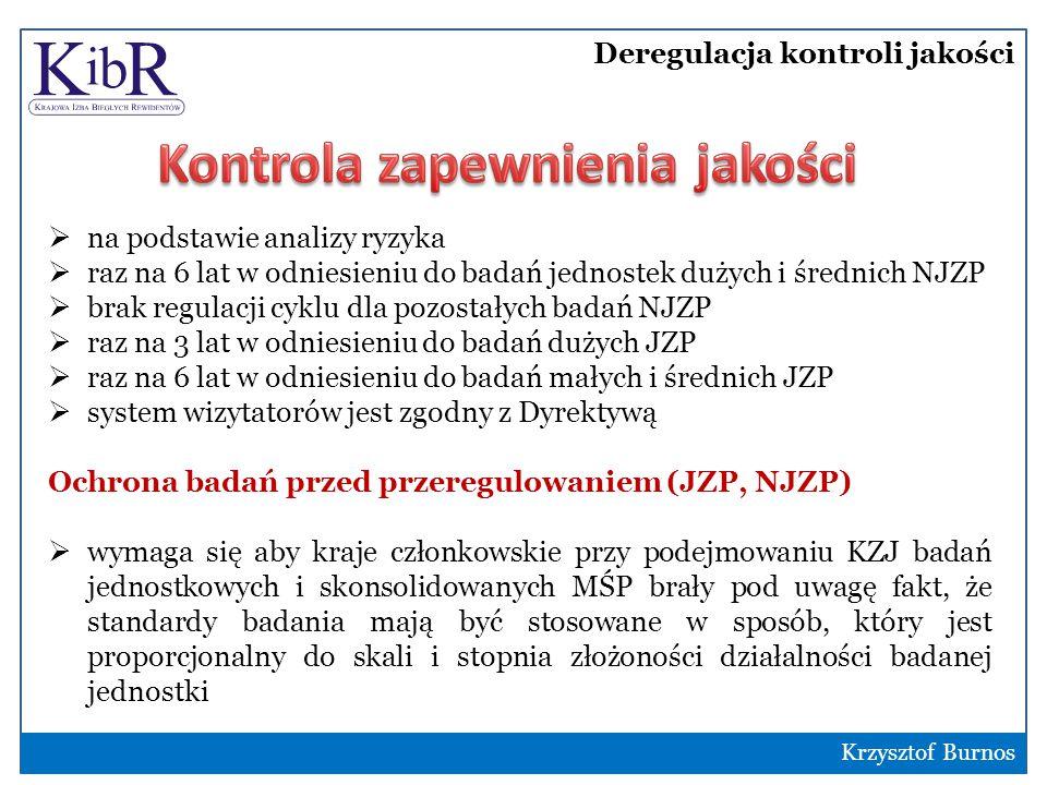 Deregulacja kontroli jakości 8  na podstawie analizy ryzyka  raz na 6 lat w odniesieniu do badań jednostek dużych i średnich NJZP  brak regulacji cyklu dla pozostałych badań NJZP  raz na 3 lat w odniesieniu do badań dużych JZP  raz na 6 lat w odniesieniu do badań małych i średnich JZP  system wizytatorów jest zgodny z Dyrektywą Ochrona badań przed przeregulowaniem (JZP, NJZP)  wymaga się aby kraje członkowskie przy podejmowaniu KZJ badań jednostkowych i skonsolidowanych MŚP brały pod uwagę fakt, że standardy badania mają być stosowane w sposób, który jest proporcjonalny do skali i stopnia złożoności działalności badanej jednostki Krzysztof Burnos
