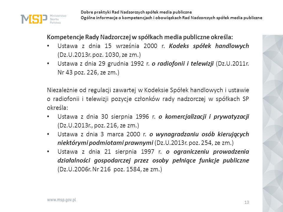 Dobre praktyki Rad Nadzorczych spółek media publiczne Ogólne informacje o kompetencjach i obowiązkach Rad Nadzorczych spółek media publiczne Kompetenc