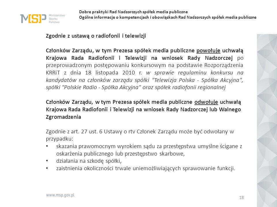 Dobre praktyki Rad Nadzorczych spółek media publiczne Ogólne informacje o kompetencjach i obowiązkach Rad Nadzorczych spółek media publiczne Zgodnie z