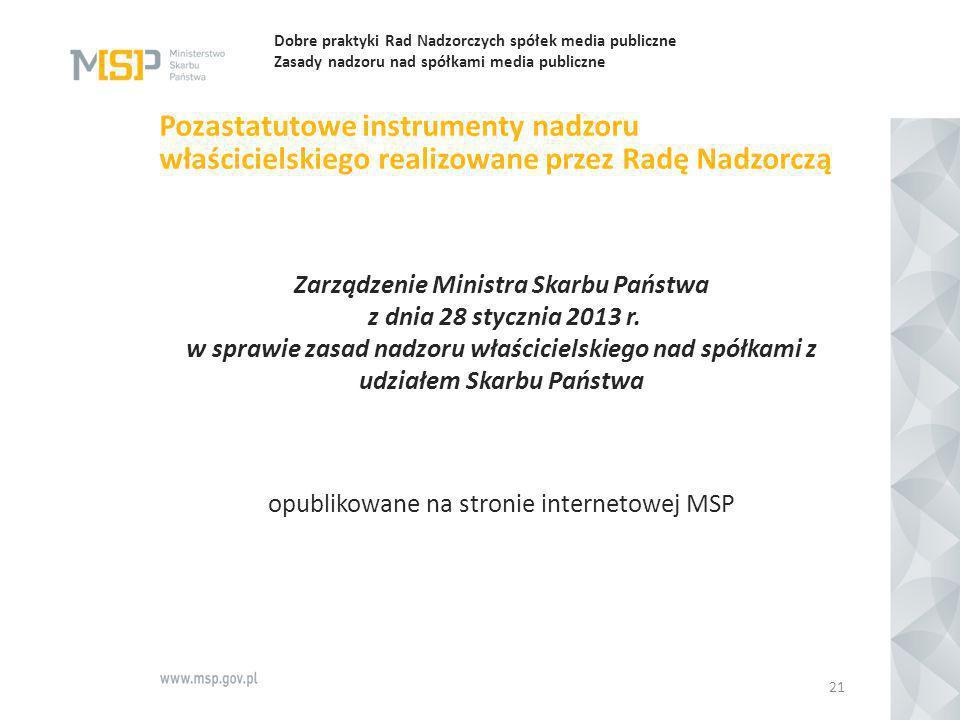 Dobre praktyki Rad Nadzorczych spółek media publiczne Zasady nadzoru nad spółkami media publiczne Pozastatutowe instrumenty nadzoru właścicielskiego r