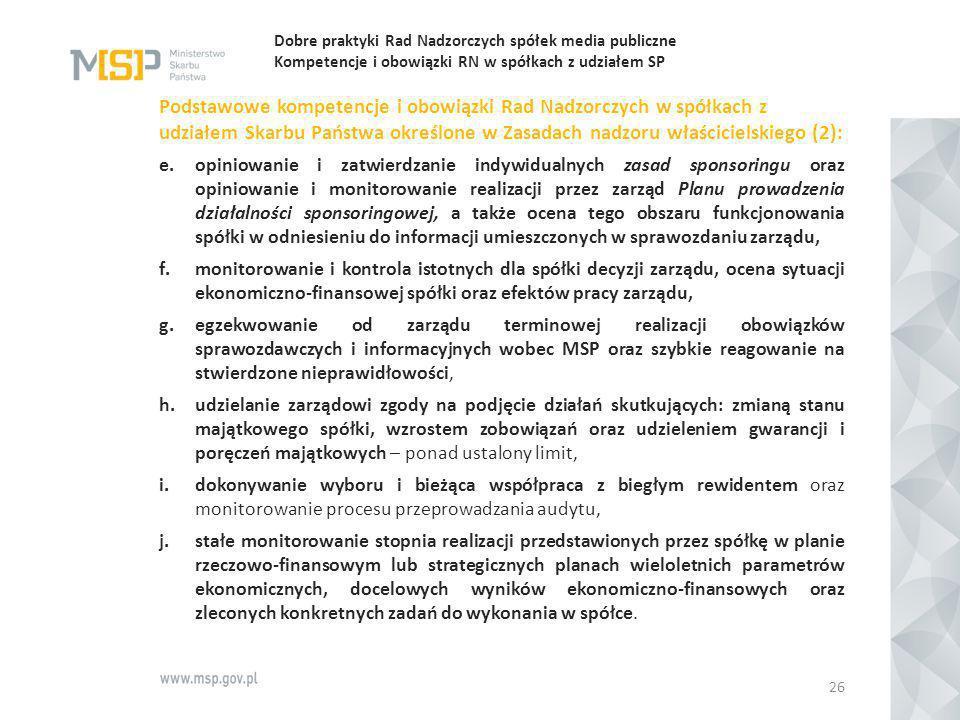 Dobre praktyki Rad Nadzorczych spółek media publiczne Kompetencje i obowiązki RN w spółkach z udziałem SP Podstawowe kompetencje i obowiązki Rad Nadzo