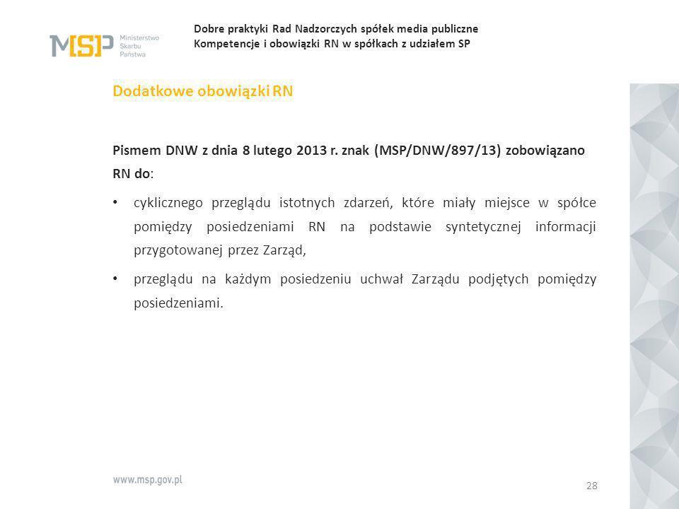 Dobre praktyki Rad Nadzorczych spółek media publiczne Kompetencje i obowiązki RN w spółkach z udziałem SP Dodatkowe obowiązki RN Pismem DNW z dnia 8 l