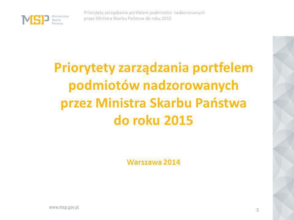 Priorytety zarządzania portfelem podmiotów nadzorowanych przez Ministra Skarbu Państwa do roku 2015 Warszawa 2014 3