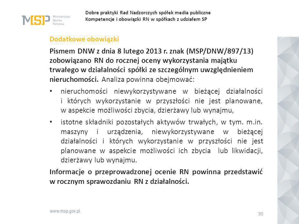 Dobre praktyki Rad Nadzorczych spółek media publiczne Kompetencje i obowiązki RN w spółkach z udziałem SP Dodatkowe obowiązki Pismem DNW z dnia 8 lute