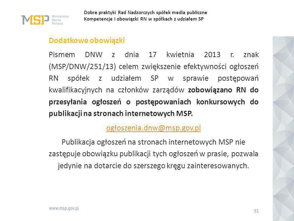 Dobre praktyki Rad Nadzorczych spółek media publiczne Kompetencje i obowiązki RN w spółkach z udziałem SP Dodatkowe obowiązki Pismem DNW z dnia 17 kwi