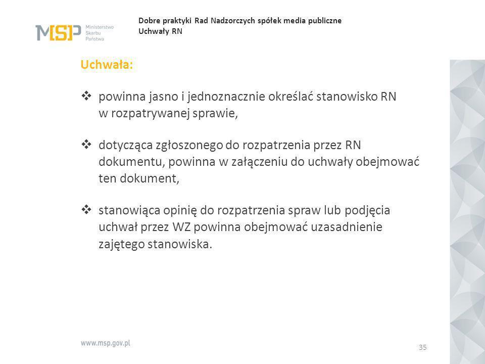 Dobre praktyki Rad Nadzorczych spółek media publiczne Uchwały RN Uchwała:  powinna jasno i jednoznacznie określać stanowisko RN w rozpatrywanej spraw