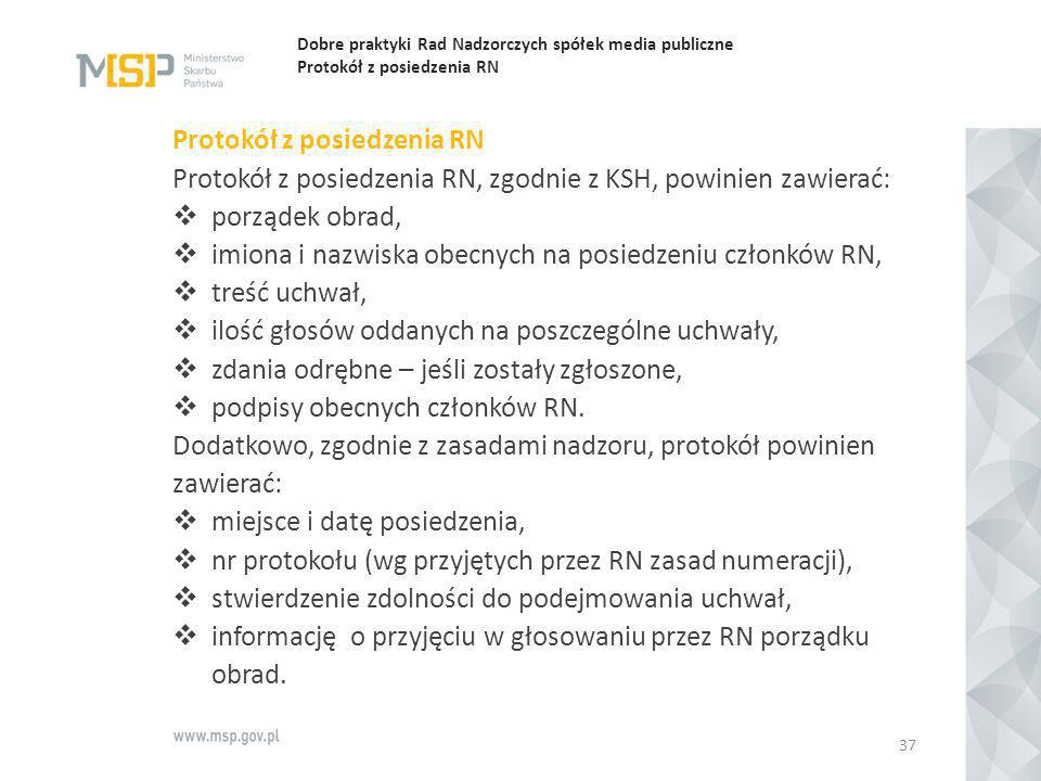 Dobre praktyki Rad Nadzorczych spółek media publiczne Protokół z posiedzenia RN Protokół z posiedzenia RN Protokół z posiedzenia RN, zgodnie z KSH, po