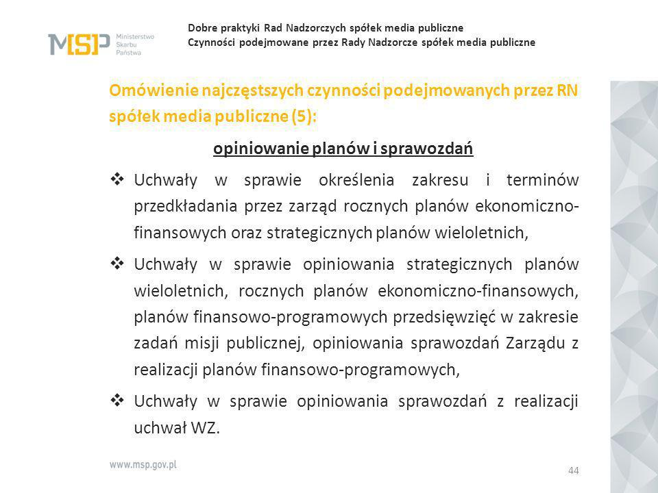 Dobre praktyki Rad Nadzorczych spółek media publiczne Czynności podejmowane przez Rady Nadzorcze spółek media publiczne Omówienie najczęstszych czynno
