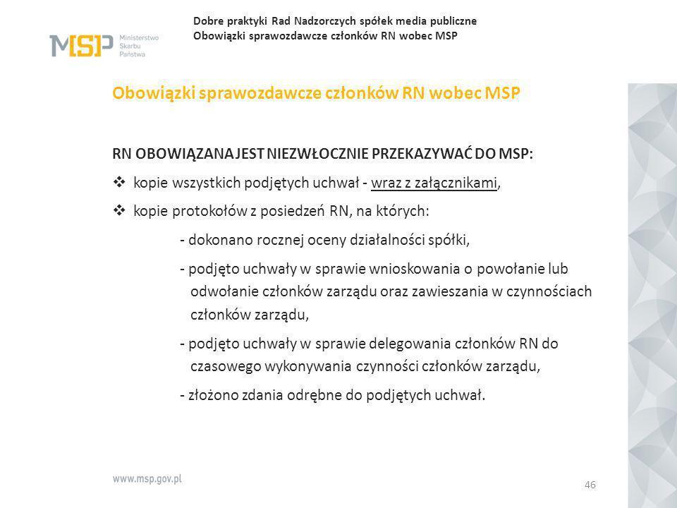Dobre praktyki Rad Nadzorczych spółek media publiczne Obowiązki sprawozdawcze członków RN wobec MSP Obowiązki sprawozdawcze członków RN wobec MSP RN O