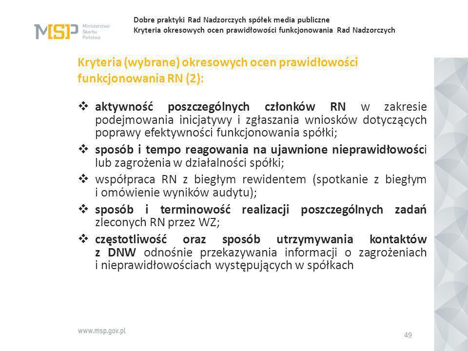 Dobre praktyki Rad Nadzorczych spółek media publiczne Kryteria okresowych ocen prawidłowości funkcjonowania Rad Nadzorczych Kryteria (wybrane) okresow