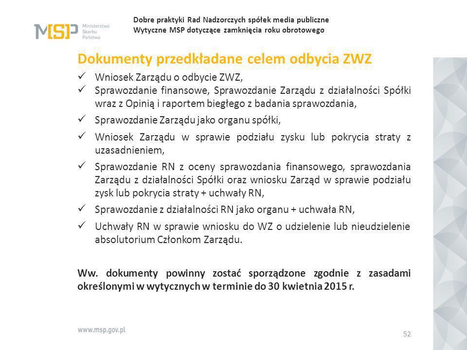Dobre praktyki Rad Nadzorczych spółek media publiczne Wytyczne MSP dotyczące zamknięcia roku obrotowego Dokumenty przedkładane celem odbycia ZWZ Wnios