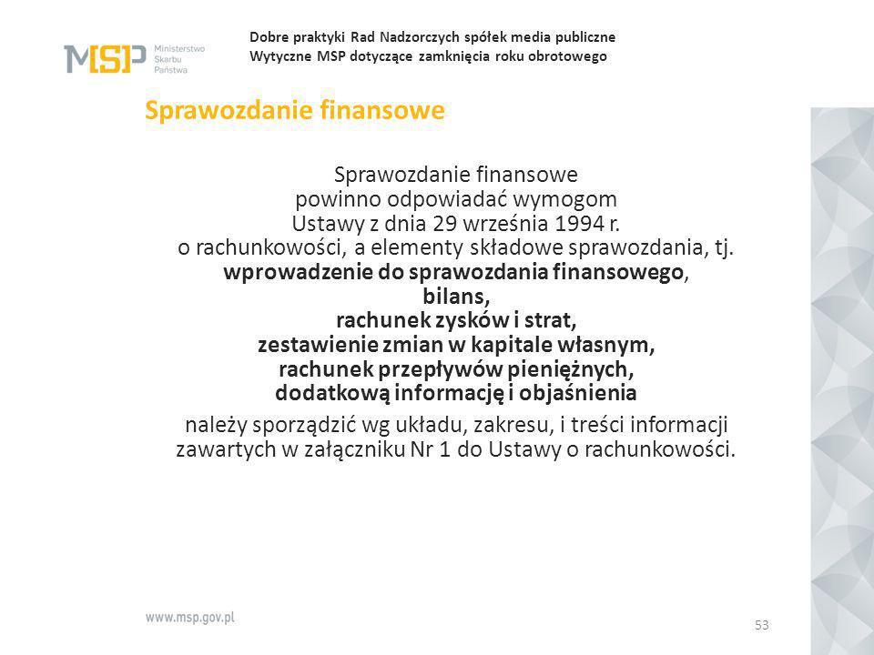 Dobre praktyki Rad Nadzorczych spółek media publiczne Wytyczne MSP dotyczące zamknięcia roku obrotowego Sprawozdanie finansowe Sprawozdanie finansowe