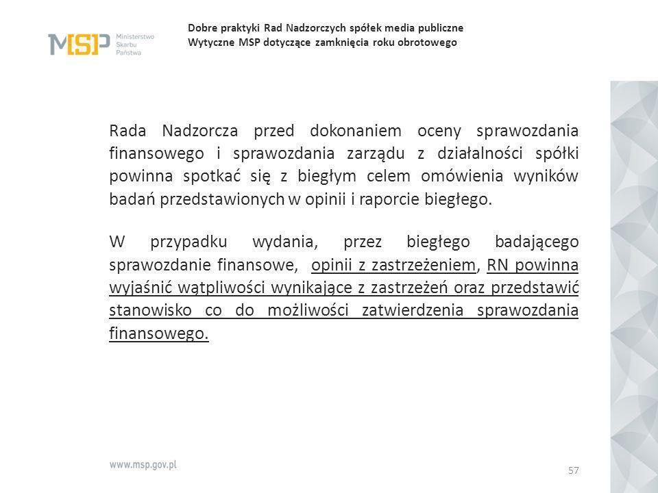 Dobre praktyki Rad Nadzorczych spółek media publiczne Wytyczne MSP dotyczące zamknięcia roku obrotowego Rada Nadzorcza przed dokonaniem oceny sprawozd