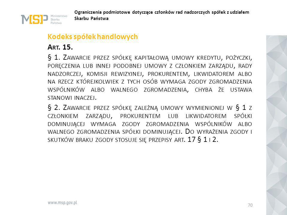 Ograniczenia podmiotowe dotyczące członków rad nadzorczych spółek z udziałem Skarbu Państwa Kodeks spółek handlowych A RT. 15. § 1. Z AWARCIE PRZEZ SP