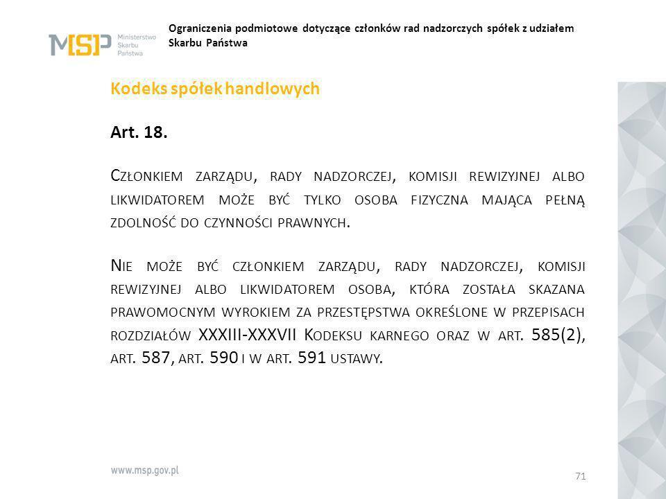Ograniczenia podmiotowe dotyczące członków rad nadzorczych spółek z udziałem Skarbu Państwa Kodeks spółek handlowych Art. 18. C ZŁONKIEM ZARZĄDU, RADY
