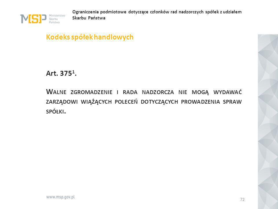 Ograniczenia podmiotowe dotyczące członków rad nadzorczych spółek z udziałem Skarbu Państwa Kodeks spółek handlowych Art. 375 1. W ALNE ZGROMADZENIE I
