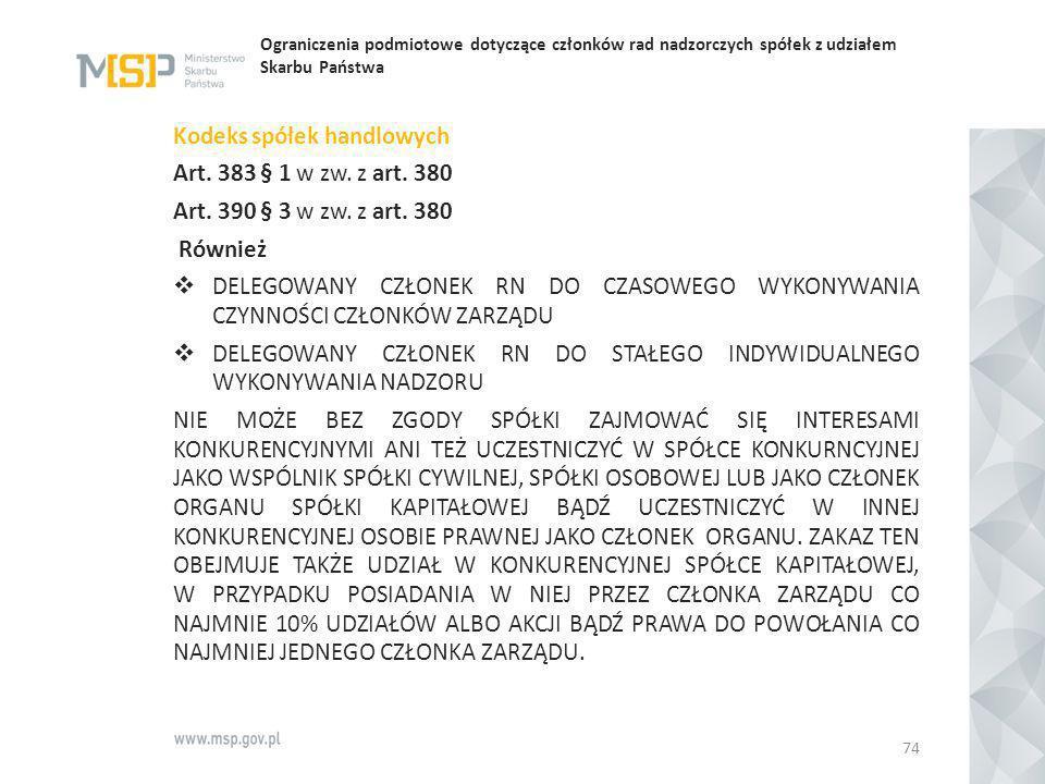Ograniczenia podmiotowe dotyczące członków rad nadzorczych spółek z udziałem Skarbu Państwa Kodeks spółek handlowych Art. 383 § 1 w zw. z art. 380 Art