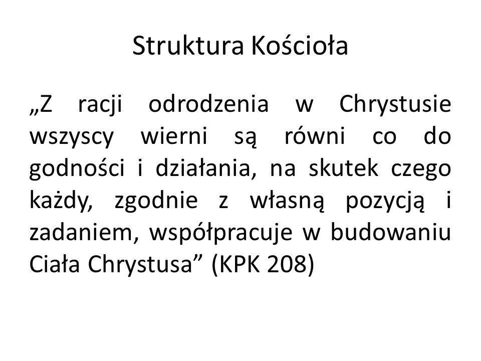 """Struktura Kościoła """"Z racji odrodzenia w Chrystusie wszyscy wierni są równi co do godności i działania, na skutek czego każdy, zgodnie z własną pozycją i zadaniem, współpracuje w budowaniu Ciała Chrystusa (KPK 208)"""