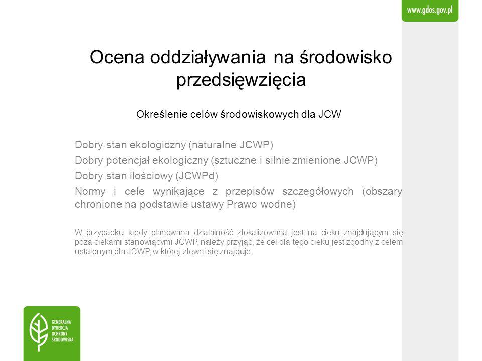 Ocena oddziaływania na środowisko przedsięwzięcia Określenie celów środowiskowych dla JCW Dobry stan ekologiczny (naturalne JCWP) Dobry potencjał ekol
