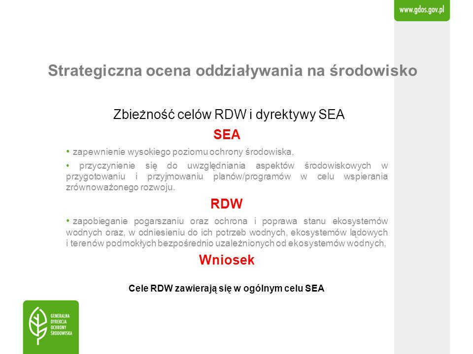 Strategiczna ocena oddziaływania na środowisko Zbieżność celów RDW i dyrektywy SEA SEA zapewnienie wysokiego poziomu ochrony środowiska, przyczynienie