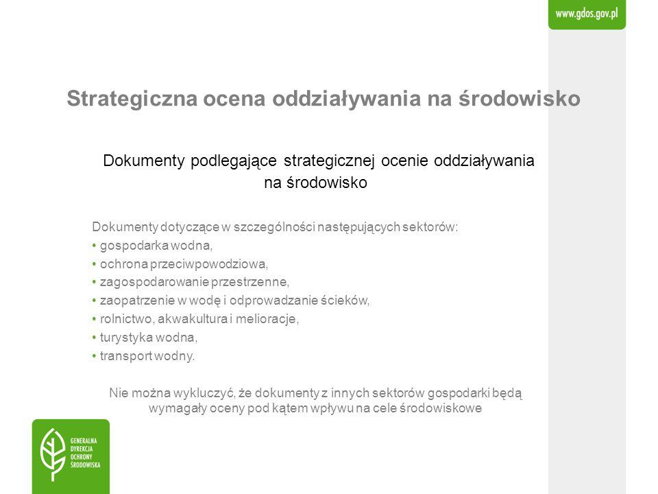 Strategiczna ocena oddziaływania na środowisko Dokumenty podlegające strategicznej ocenie oddziaływania na środowisko Dokumenty dotyczące w szczególno