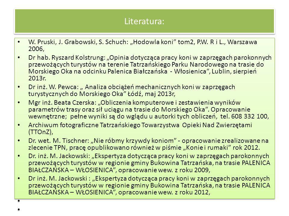 """Literatura: W. Pruski, J. Grabowski, S. Schuch: """"Hodowla koni"""" tom2, P.W. R i L., Warszawa 2006, Dr hab. Ryszard Kolstrung: """"Opinia dotycząca pracy ko"""