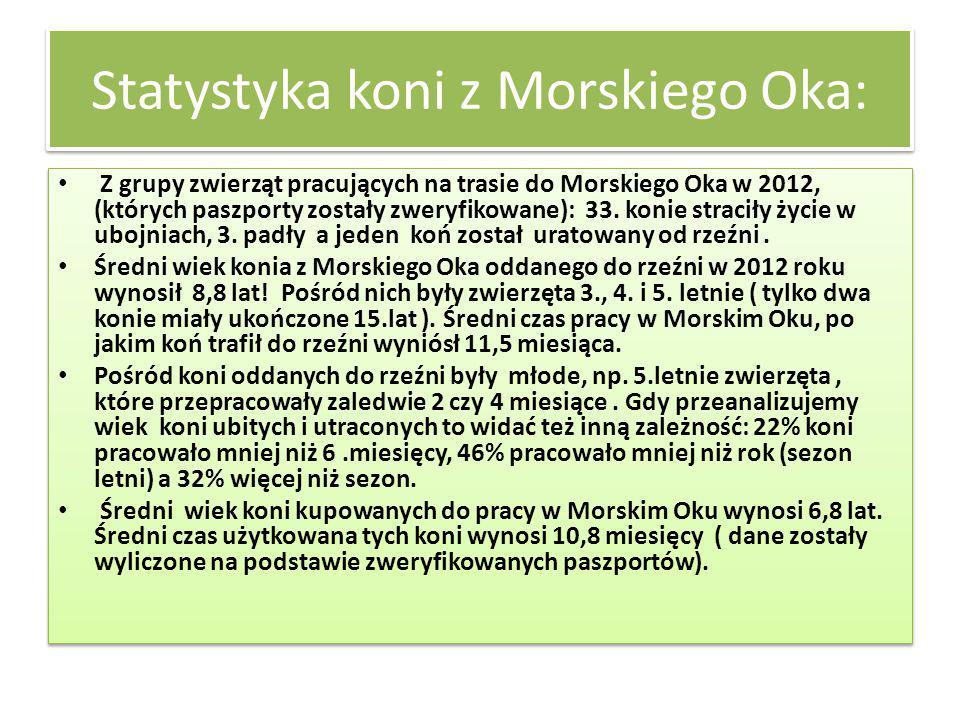 Statystyka koni z Morskiego Oka: Z grupy zwierząt pracujących na trasie do Morskiego Oka w 2012, (których paszporty zostały zweryfikowane): 33. konie