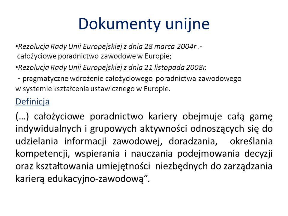 Dokumenty unijne Rezolucja Rady Unii Europejskiej z dnia 28 marca 2004r.- całożyciowe poradnictwo zawodowe w Europie; Rezolucja Rady Unii Europejskiej z dnia 21 listopada 2008r.
