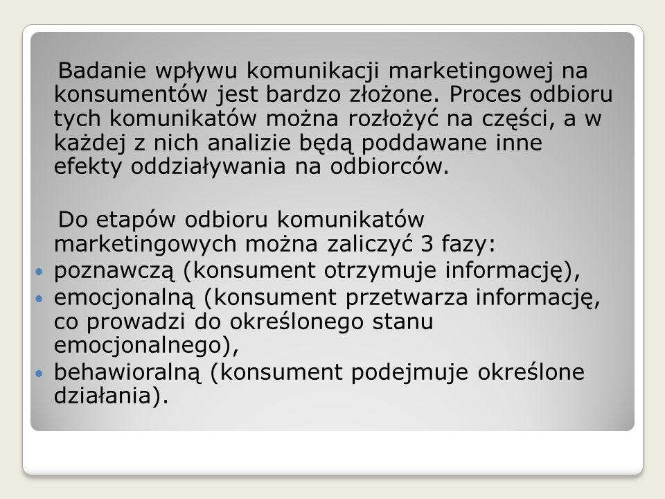 Badanie wpływu komunikacji marketingowej na konsumentów jest bardzo złożone. Proces odbioru tych komunikatów można rozłożyć na części, a w każdej z ni