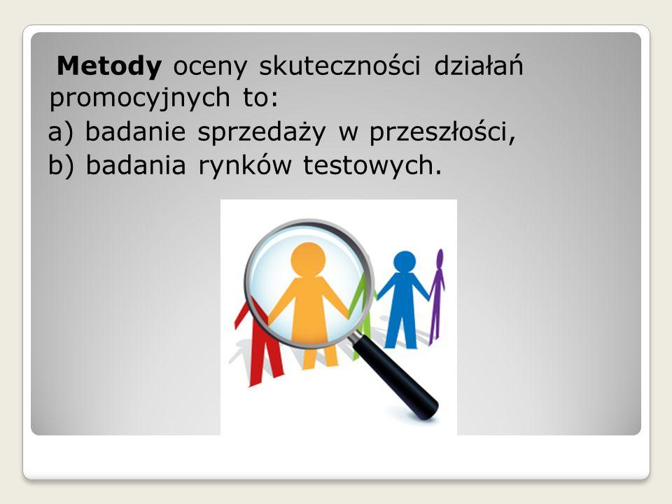 Metody oceny skuteczności działań promocyjnych to: a) badanie sprzedaży w przeszłości, b) badania rynków testowych.
